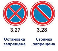 Знаки стоянка и остановка запрещена